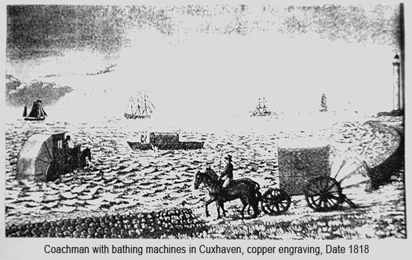 Coachman with bathing machines in Cuxhaven, copper engraving 1818