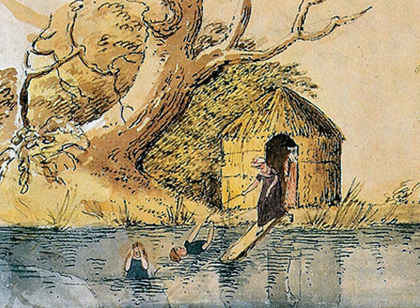 Diana sperling Watercolour Bathing at Dyne Hall c. 1812g at the Boathouse Diana Sperling